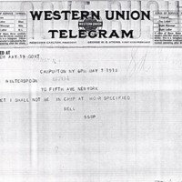 Telegram May 7, 1918 from Franklin Bell to Frances Witherspoon