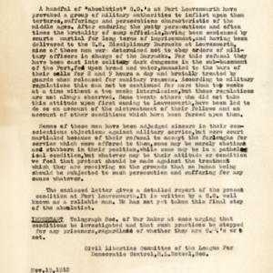"Memorandum on the Treatment of ""Absolutist"" Conscientious Objectors at Ft. Leavenworth, Kansas"