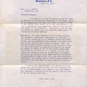 Letter April 14, 1917 from W.W. Griest to I.B. Landis