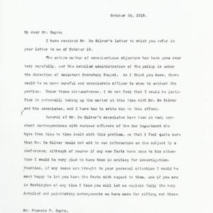 Letter October 24, 1918 from Newton D. Baker