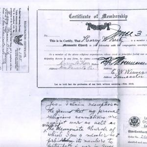 Church membership certificate for Harry Reitz, 1917, etc.