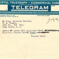 Telegram July 16, 1918 from Charles Recht to Judge Advocate General Vaughn