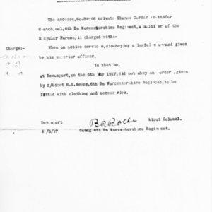 Charge Sheet, May 6, 1917