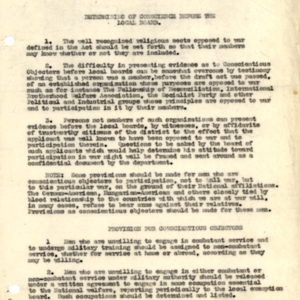 Suggestions for Dealing With Conscientious Objectors Under the Conscription Act