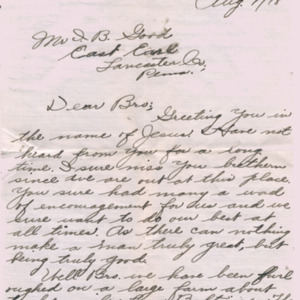 Letter August 1, 1918 to I.B. Good