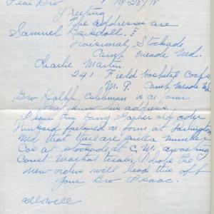 Letter October 28, 1918 to I.B. Good