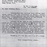 Letter April 24, 1918 from Frances Witherspoon to Major General Franklin Bell