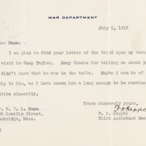 Letter July 8, 1918 from F.P. Keppel to Henry Dana