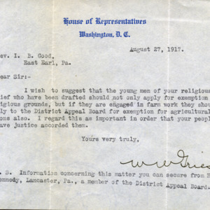 Letter August 27, 1917 to I.B. Good