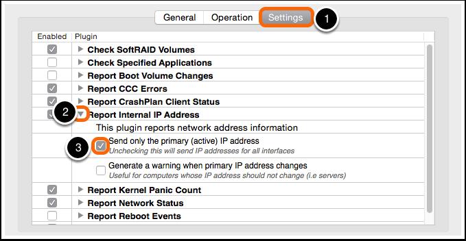 Client Setting: Report Internal IP Address