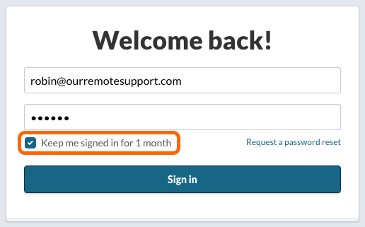 Login: Keep me signed in for 1 month