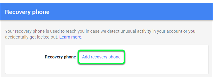 Click Add Recovery Phone