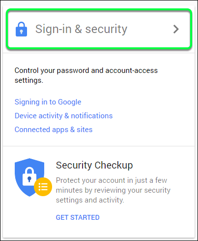 Click on Sign-in & Security