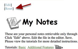 To Reset the My Notes back to the original state with no notes, Click the Reset Button.