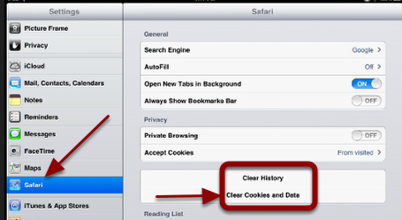 """Scroll to Safari and tap it.  Then tap """"Clear Cookies and Data""""."""