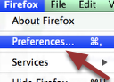 2. EMPTY FIREFOX CACHE:  Go to the top menu and click on 'Firefox' and then 'Preferences'.