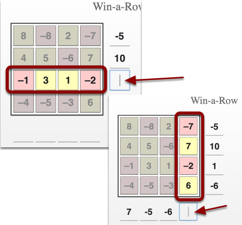 To sum a row or column, click on the line in front of a row or column typing in the appropriate number.
