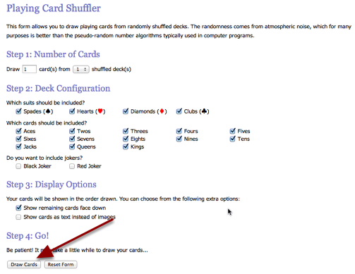 Set the options for all of the cards without the jokers. See below.