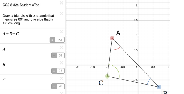 CC2 8-82a Student eTool: Drage the vertices of the triangle to change the shape.