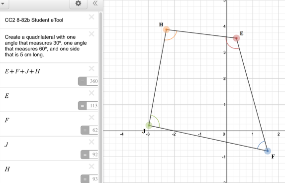 CC2 8-82b Student eTool: Drag the vertices to change the shape of the quadrilateral.