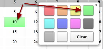 To change the color of a cell, click the cell and choose a color.