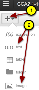 """Go to the """"+"""" and select the text or image to customize your project."""