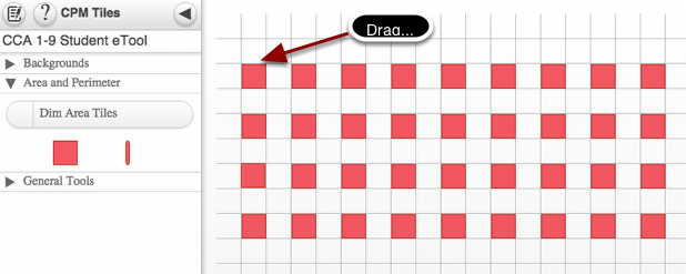 Lab A Hot Tub Tiles: Drag to build rectangular shapes recording the length and width.