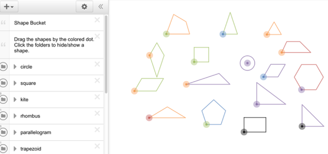 "Use the ""Shape Bucket"" to explore geometric concepts."