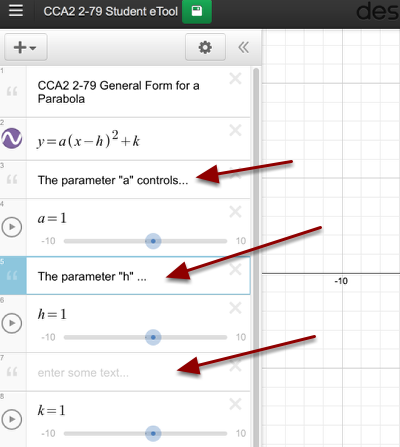 Customize your project by adding text fields explaining each of the parameters.