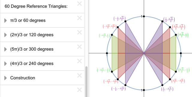 You can display one, several, or all of the reference triangles.
