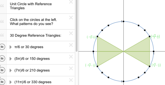 Click the circle in front the the radian or degrees for the reference triangle.
