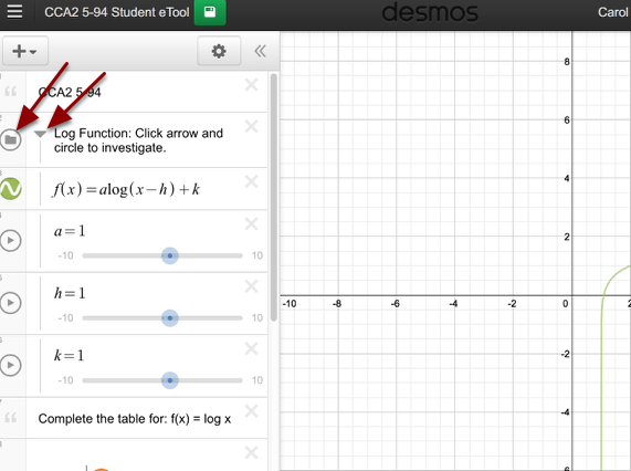 When exploring, click the folder and the arrow to view the graph and access the sliders.