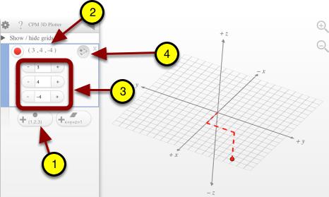 Enter points (x, y, z).
