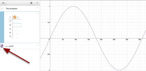 Click the circle in front of the sine function to view.