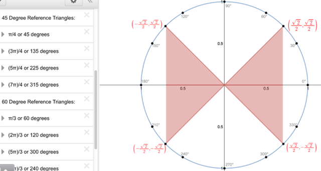 Unit Circle with Reference Triangles: Explore 45 Degree Reference triangles.
