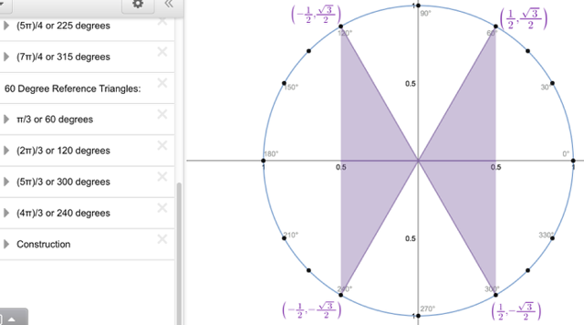 Unit Circle with Reference Triangles: Explore 60 Degree Reference triangles.