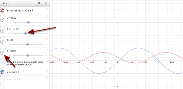 Move sliders or the play button in front of the sliders to investigate the sine curve.
