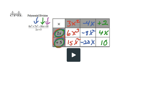 This video show how to use a generic rectangle for Polynomial Division without a remainder.