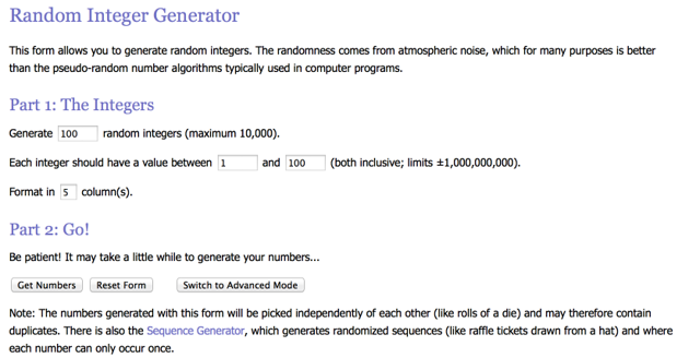 Use for 11-37 to generate 25 numbers between 1 and 100. Choose the appropriate settings.