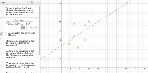 Explore Correlation Coefficient by following the instructions on the tool at left.
