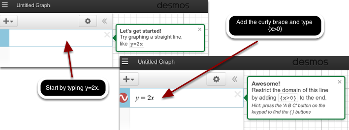 Learn how to write inequalities with Desmos Graphing Calculator.