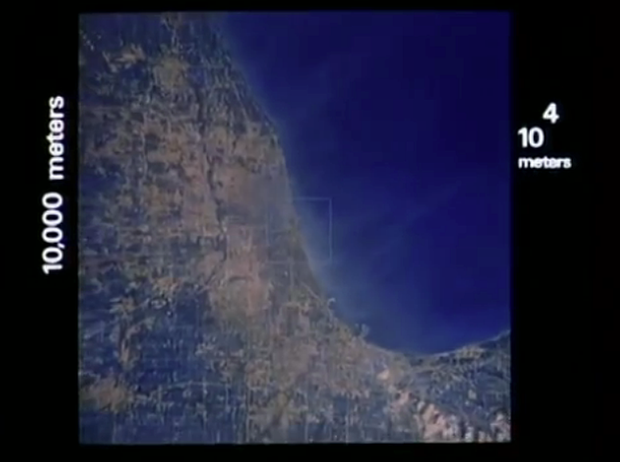 The film shows powers of 10 going away from an object.
