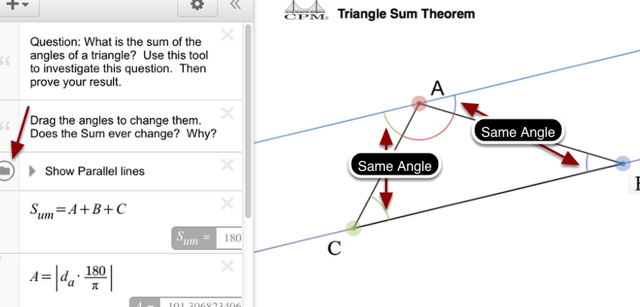 """Press the """"Show Parallel Lines"""" button to show angles that are the same."""