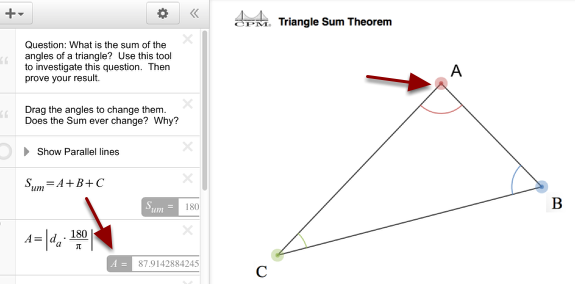 Drag the colored angles about to change values. Note the measurements are at the left.