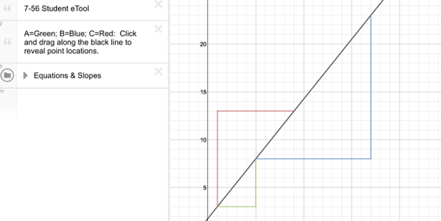 CC3 7-55: Find the slopes for slope triangles, A, B, & C.