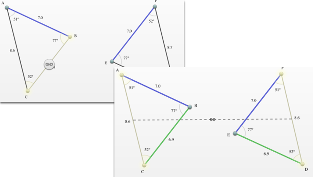 Indicate what sides/angles are similar/congruent.