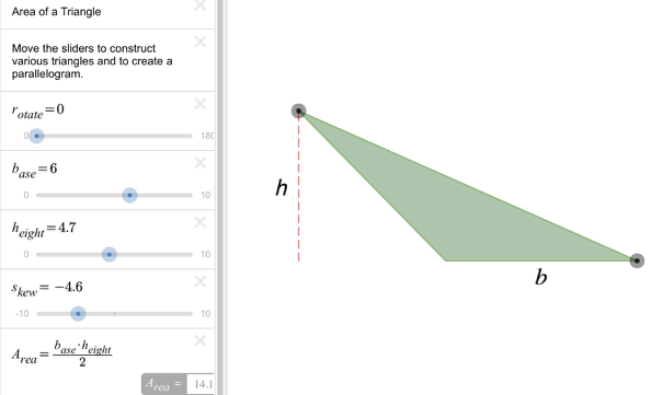 Move sliders to change the shape of the triangle.