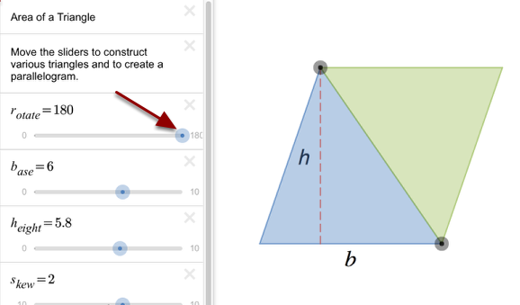 Rotate a second copy of the triangle on itself to form a parallelogram.