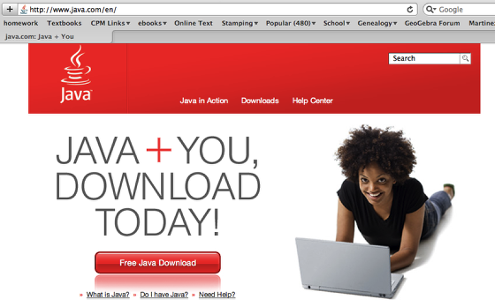3. If you are on a PC, you may need to download Java.  Go to java.com and follow directions for download.