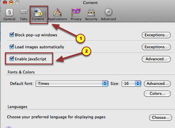 "1b. Choose the Content tab.  Then check ""Enable JavaScript""."